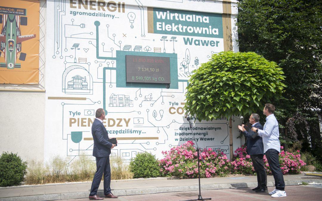 Mural z wyświetlaczem Wirtualnej Elektrowni